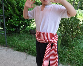 Pirate Sash Red and White Stripes. Pirate Belt. Striped Belt. Stripe Sash.