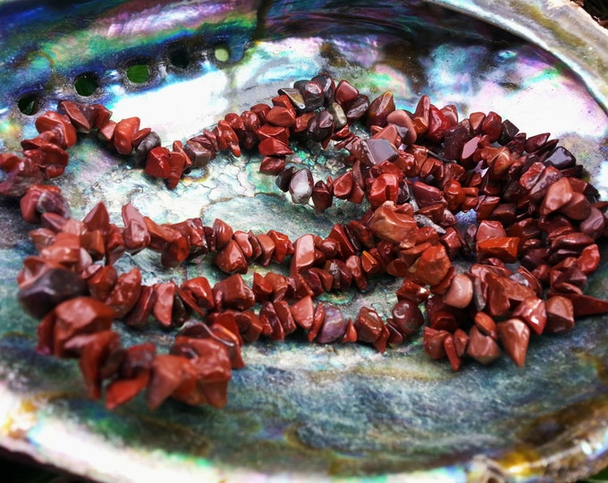 Brecciated/Red Jasper Mix~ One 36 inch Reiki infused chip bead strand
