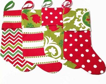 Modern Christmas Stockings, Contemporary Christmas Stockings, Red, White and Green Stockings