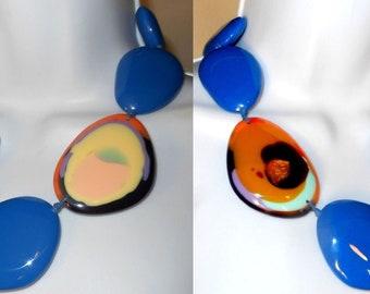 Sobral True Blue Macarandachi Encantador w Reversible Kandinsky Bead Necklace