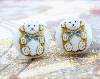 Bear - Czech glass button stud earrings