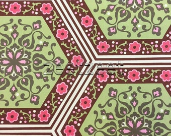 "STAR FLOWER Tiles Amy Butler, NIGELLA Collection Green & Pink ""Brown"" - Cotton Sateen Fabric - Rare Home Dec Weight 54"" Wide"