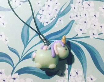 Glow in the Dark Rainbow Unicorn Charm Keychain Key Chain Cellphone mobile phone dangle cute handmade fluorescent made out of polymer clay