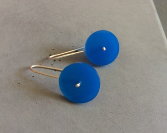 Long Circle Earrings made of Sterling Silver and Blue Plexi, Minimalist Silver Jewelry