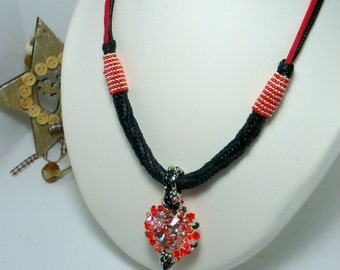 hand woven black and Red Swarovski Crystal Necklace