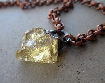 Solar Plexus Chakra Choker with Citrine, Third Chakra, Crystal Amulet, Sun Center, Self Esteem, Willpower, Prosperity, Sacred Object