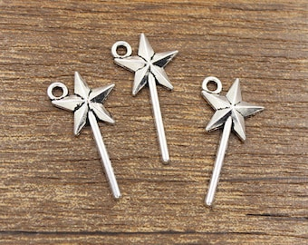 30pcs Magic Wand Charm Antique Silver Tone 13x25mm