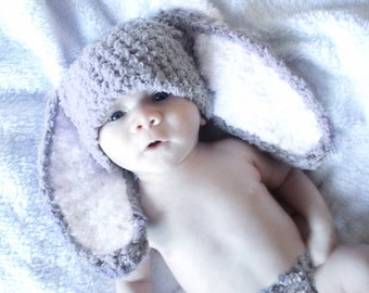 3 to 6m Baby Hat, Baby Bunny Hat, Grey White Bunny Rabbit Hat Bunny Ears Crochet Baby Hat, Crochet Bunny Beanie, Photograpy Prop, Baby Gift