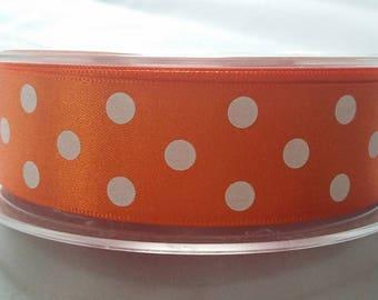 25mm Double Satin  Polka Dot Ribbon 4 colours Pink, shocking pink, gold, orange