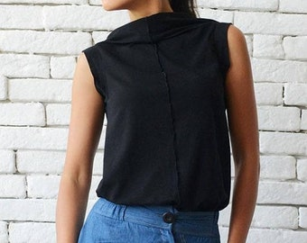 SALE Black Casual Top/No Sleeve Summer Tunic/Everyday Black Top/Sleeveless Black Blouse/Loose Black Top/Summer Casual Tunic Top