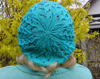 Summer beret - Cotton beret In in mint color