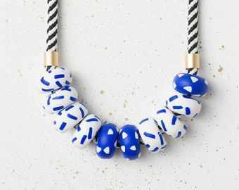 Chunky necklace, Colorful necklace, Statement necklace, Blue White Necklace, Geometric necklace, Geometric jewelry, Clay Accessories, Blue