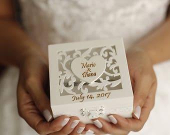 Anillo portador caja, caja del anillo de boda/compromiso, caja del anillo de boda personalizado, anillo portador almohada, sostenedor del anillo de boda rústica, almohada portador caja
