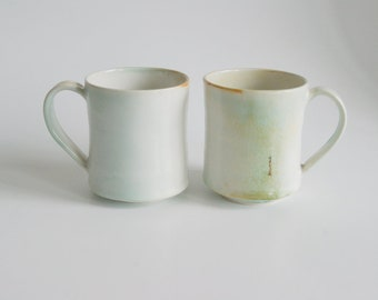 Handmade Stoneware Mugs White Ceramic handmade cup White Ceramic tea cup Unique pottery cup Coffee Lovers