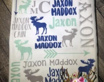 Personalized moose blanket, Woodland nursery decor,