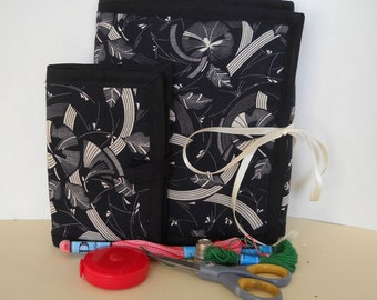 Geometric Woodcut,  Sewing Caddy, Needle Book, Sewing Organizer Set