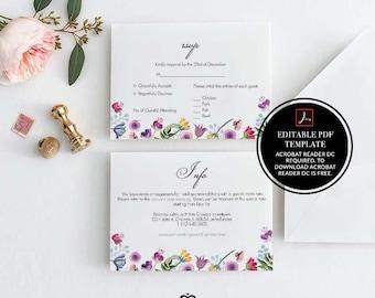Wedding RSVP Template, Printable Wedding Template, Editable RSVP Card, Wedding Rsvp Template, Instant Download, DIY Wedding, Flowers, 24