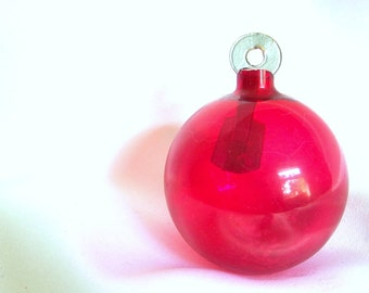 Vintage WWII Christmas Ornament, Unsilvered Red Holiday Ornament with Round Paper Hanger