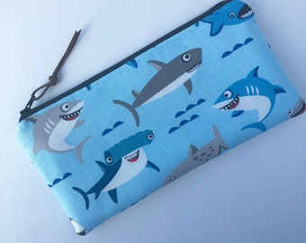 Shark Zip Pouch  - Makeup Bag - Pencil Case - Zipper Pouch - Bags & Purses - Makeup Pouch  - Purse Organzier - Zip Pouch - Shark Pouch