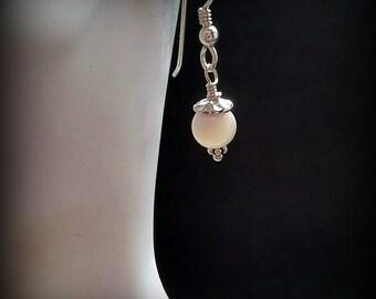 White Mother of Pearl Earrings - Minimalist Earrings