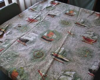 Salvaged 1950s curtains ~ nautical theme ~ make great cushions