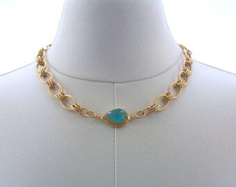Chalcedony Necklace, Gemstone Necklace, Chain Jewelry, Gold necklace, Fashion Jewelry, Bue, Gold, Rhinestone