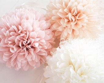 BLUSH & CHAMPAGNE Tissue Paper Poms