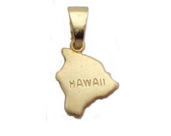 2 Hawaii State Pendants Tiny Raw Brass with Bail