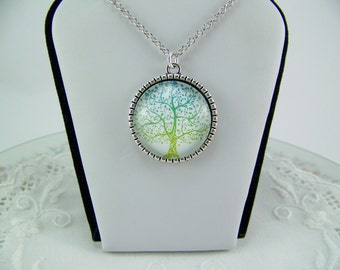 Tree of Life Necklace, Glass Cabochon Tree, Reversible Tree Necklace, Tree Necklace, Family Tree Necklace, Silver Tree Necklace, Trees