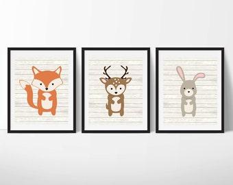Woodland Animals Printable Nursery Art, Forest Animals Nursery Decor, Woodland Wall Art, Nursery Wall Art, Set of 3, Instant Download