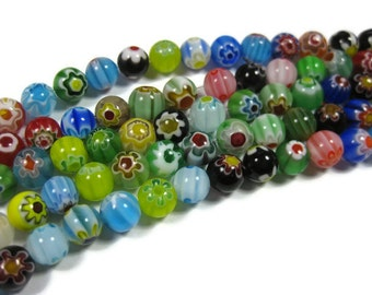 50 Flower Millefiori Round Beads 8mm Assorted Colors