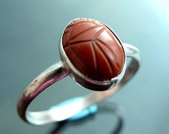 Scarab Beetle Jasper Gemstone carved ring in sterling silver bug size 7.5 stacker rings OOAK jewelry