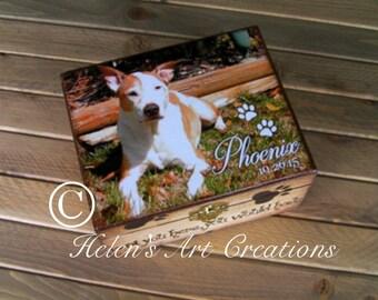 Pet Memorial Box, Keepsake Box, Pet Urn, Personalized Keepsake Box, Dog Urn, Photo Keepsake Box, Photo Box, Custom Pet Photo, Animal Box