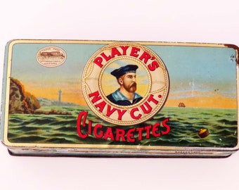 Rare PLAYER'S NAVY CUT Cigarette Tin from Imperial Tobacco Co of Canada, Ltd 1897 / Collectible Tobacco Tin made in Canada / Maritime Tin