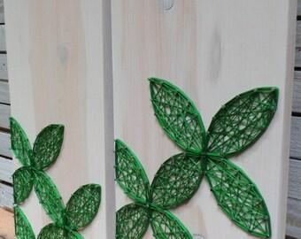 SET OF 2 - Modern String Art Wooden Tablet - Green Circular Geometric on Whitewash, Made to Order
