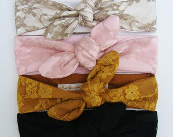 Headbands / headbands lace chic, beige, pink, ochre and black, for small and large
