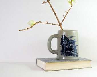 Vintage Ceramic Beer Mug - Drinking Buccaneer - Blue and Grey Stoneware Mug - Grey Home Decor - Kitchen Utensil Holder - Made in Japan