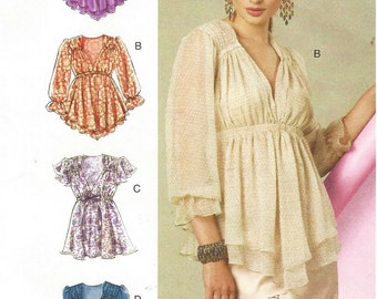 Womens Pullover Boho Top with Sleeve Variations OOP McCalls Sewing Pattern M6469 Size 4 6 8 10 12 14 Bust 291/2 to 36