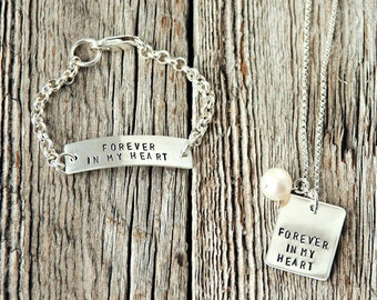 Baby Bracelet and Matching Birth Mother Necklace, Adoption Necklaces, Adoption Gifts, Personalized Mommy Necklace
