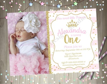 Princess 1st Birthday Party Invitation Invite Pink and gold Princess 1st Birthday Party Printable Invitation Photo Picture