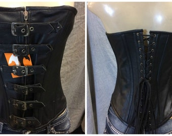 1317 Ladies Black Leather Corset