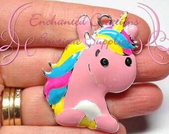 "2"" Pink Rainbow Unicorn, Chunky Pendant, Bookmark, Keychain, Bookmark, Zipper Pull, Chunky Jewelry, Purse Charm"
