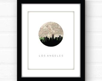 Los Angeles map print | Los Angeles print | Los Angeles wall art | California wall art | Beverly Hills | Santa Monica | Hollywood