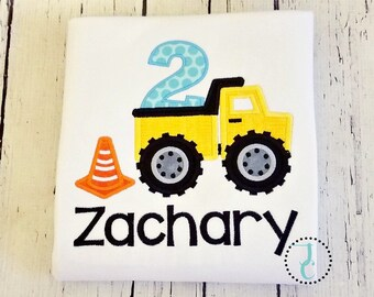 Construction Birthday Shirt - Dump Truck Birthday Shirt, Tonka Truck Birthday, Boys Birthday Shirt, Baby Boy Birthday, Construction Vehicle