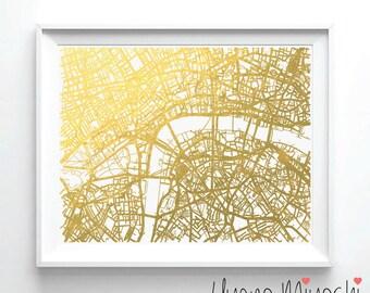 London Street Map Gold Foil Print, Gold Print, Map Custom Print in Gold, Illustration Art Print, London England Map Gold Foil Print