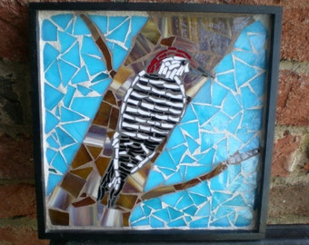 Framed Stained Glass Woodpecker Mosaic Wall Art