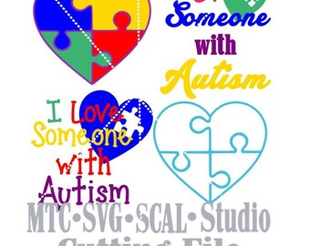 SVG Cut File I Love Someone With Autism with Puzzle Hearts Bundle MTC  SCAL Cricut Silhouette Cutting Files