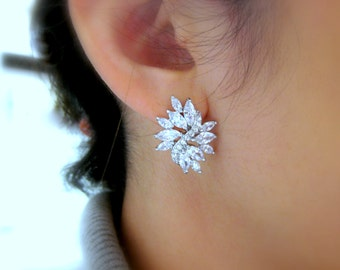 wedding bridal jewelry bridesmaid gift prom party christmas pageant marquise multi stone cluster cubic zirconia rhodium post stud earrings
