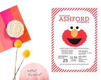Printable Instant Download Elmo Invitation   Elmo Invite   DIY Instant Download Elmo Invitation   Sesame Street Invitation