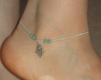Silver anklet Hamsa hand turquoise ankle bracelet Hamsa hand jewelry Silver hamsa hand turquoise anklet Hamsa jewelry Ankle bracelet uk